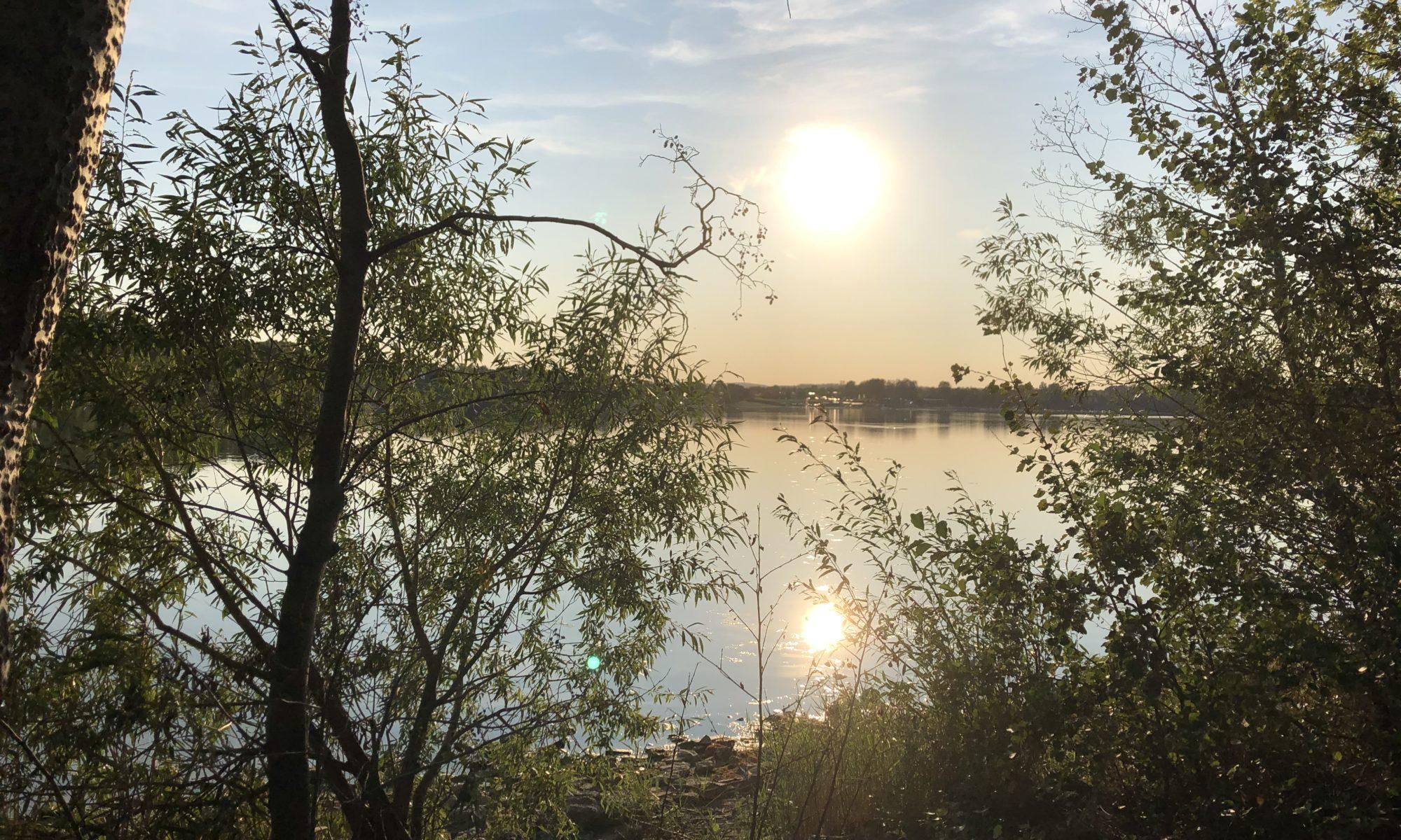 Die Sonne strahlt auf einen See